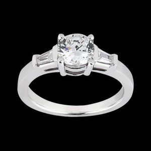 1.20 ct. diamonds 3-stone wedding ring round & TB